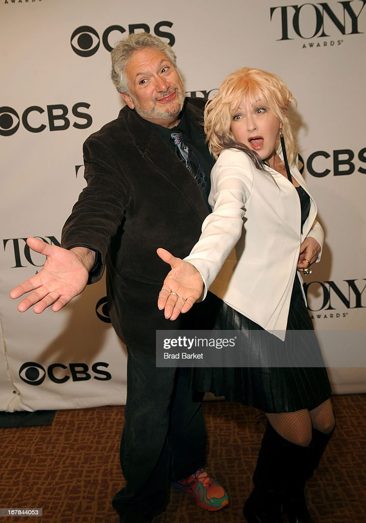 Harvey Fierstein and Cyndi Lauper attend the 2013 Tony Awards Meet The Nominees Press Reception on May 1, 2013 in New York City.