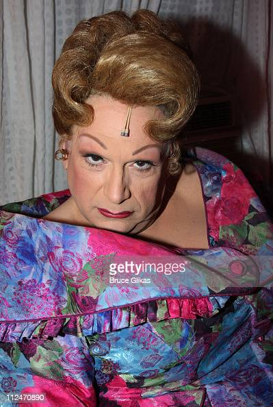 Harvey Fierstein as 'Edna Turnblad' poses backstage at The 'Hairspray' Closing Night on Broadway at The Neil Simon Theater on January 4 2009 in New...
