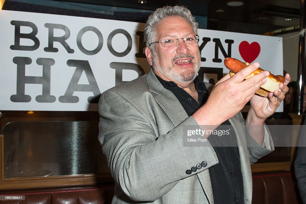 Harvey Fierstein attends The Harvey Fierstein 15-Bite Brooklyn Diner 'All Beef' Hot Dog Unveiling at Brooklyn Diner on May 22, 2013 in New York City.