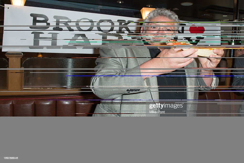 <a gi-track='captionPersonalityLinkClicked' href=/galleries/search?phrase=Harvey+Fierstein&family=editorial&specificpeople=206751 ng-click='$event.stopPropagation()'>Harvey Fierstein</a> attends The <a gi-track='captionPersonalityLinkClicked' href=/galleries/search?phrase=Harvey+Fierstein&family=editorial&specificpeople=206751 ng-click='$event.stopPropagation()'>Harvey Fierstein</a> 15-Bite Brooklyn Diner 'All Beef' Hot Dog Unveiling at Brooklyn Diner on May 22, 2013 in New York City.