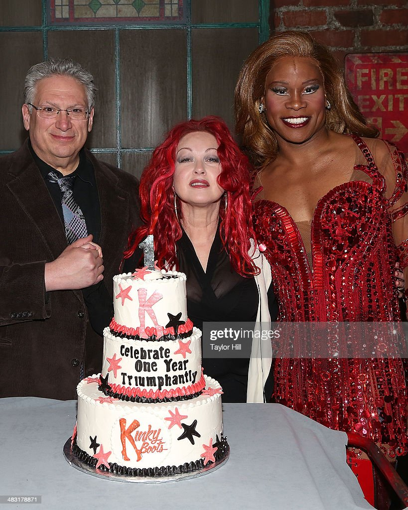 <a gi-track='captionPersonalityLinkClicked' href=/galleries/search?phrase=Harvey+Fierstein&family=editorial&specificpeople=206751 ng-click='$event.stopPropagation()'>Harvey Fierstein</a>, <a gi-track='captionPersonalityLinkClicked' href=/galleries/search?phrase=Cyndi+Lauper&family=editorial&specificpeople=171290 ng-click='$event.stopPropagation()'>Cyndi Lauper</a>, and <a gi-track='captionPersonalityLinkClicked' href=/galleries/search?phrase=Billy+Porter&family=editorial&specificpeople=787592 ng-click='$event.stopPropagation()'>Billy Porter</a> attend 'Kinky Boots' one year anniversary on Broadway at The Hirshfeld Theatre on April 6, 2014 in New York City.