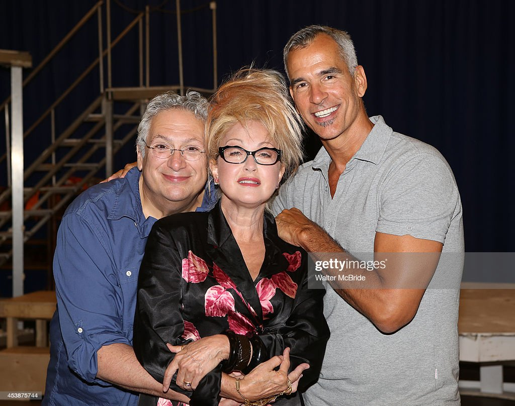 Harvey Fierstein Cyndi Lauper and Jerry Mitchell attend the 'Kinky Boots' Tour Photo Call at the New 42nd Street Studios on August 20 2014 in New...