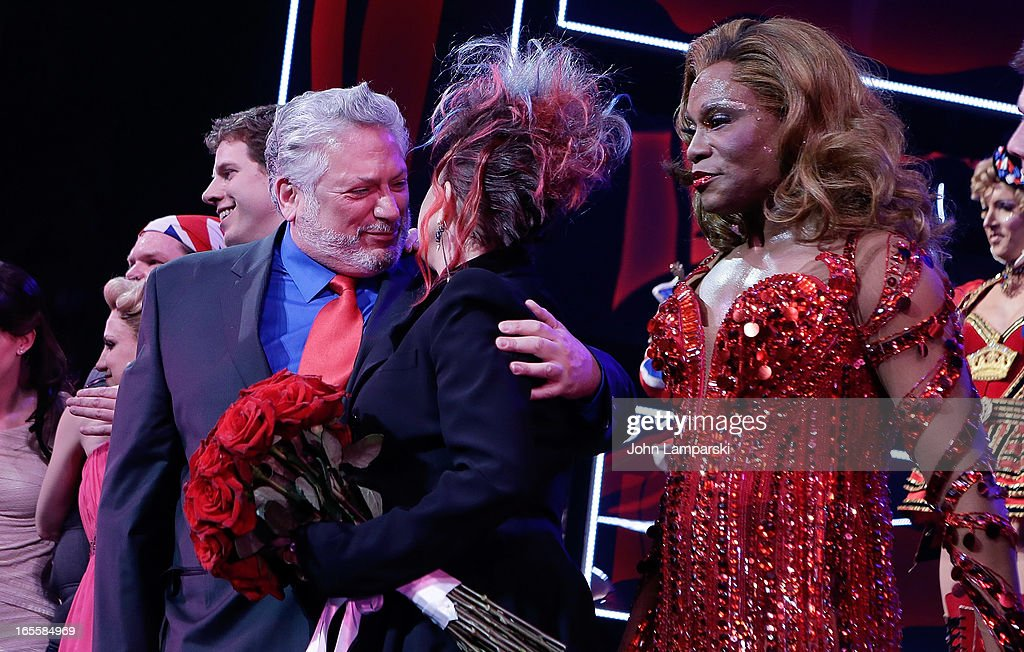 <a gi-track='captionPersonalityLinkClicked' href=/galleries/search?phrase=Harvey+Fierstein&family=editorial&specificpeople=206751 ng-click='$event.stopPropagation()'>Harvey Fierstein</a>, <a gi-track='captionPersonalityLinkClicked' href=/galleries/search?phrase=Cyndi+Lauper&family=editorial&specificpeople=171290 ng-click='$event.stopPropagation()'>Cyndi Lauper</a>, Billy Porter and cast attend the 'Kinky Boots' Broadway Opening Night at the Al Hirschfeld Theatre on April 4, 2013 in New York City.