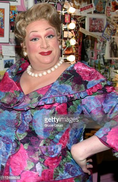 Harvey Fierstein during Ericka Dunlap Miss America 2004 Visits the Cast of 'Hairspray' Backstage September 24 2003 at The Neil Simon Theatre in New...