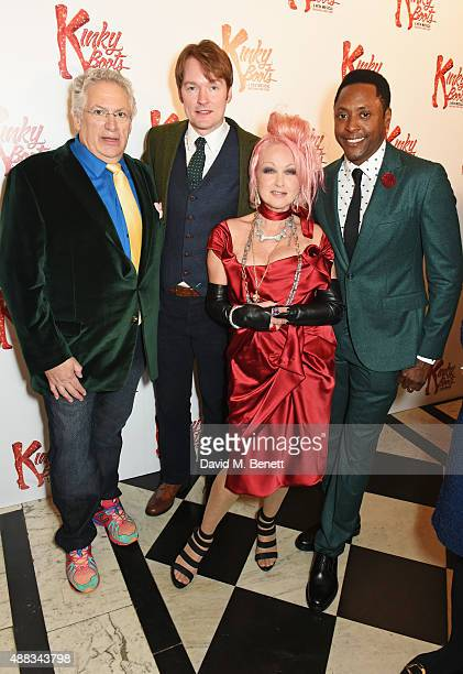 Harvey Fierstein Killian Donnelly Cyndi Lauper and Matt Henry attend the Kinky Boots after party on opening night at The Grand Connaught Rooms on...