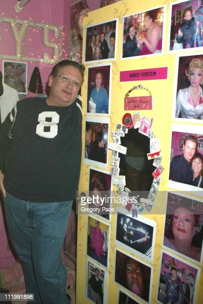 Harvey Fierstein poses by his dressing room door during Celebrities visit backstage after seeing the Broadway Hit Musical 'Hairspray' at Neil Simon...