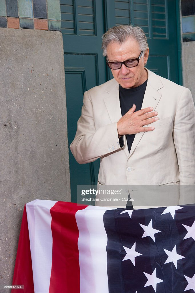 Harvey Keitel attends an homage ceremony at Promenade des planches during the 38th Deauville American Film Festival in Deauville