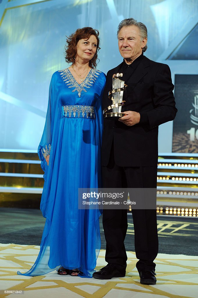 Harvey Keitel awarded by Susan Sarandon during the10th Marrakech Film Festival, in Marrakech.