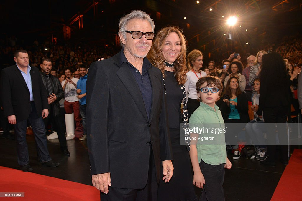 Harvey Keitel, Daphna Kastner and their son Roman Keitel attend the closing ceremony of 'Lumiere 2013, Grand Lyon Film Festival' on October 20, 2013 in Lyon, France.