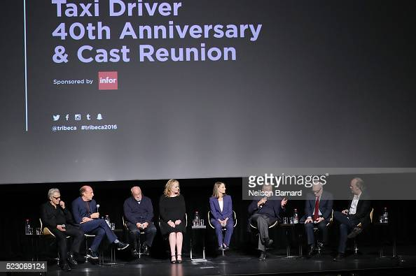 Harvey Keitel Michael Phillips Paul Schrader Cybill Shepherd Jodie Foster Robert De Niro and Martin Scorsese attend the 'Taxi Driver' 40th...