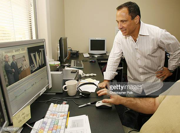 Harvey Levin Managing Editor of TMZcom works in TMZ's editing room in Glendale Calif on August 3 2006 *Exclusive*