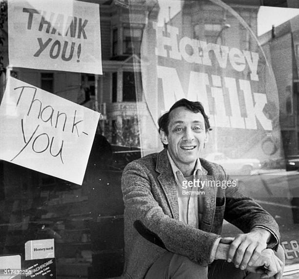 Avowed homosexual Supervisor Harvey Milk who was shot and killed along with San Francisco Mayor George Moscone at City Hall 11/27 sits outside his...