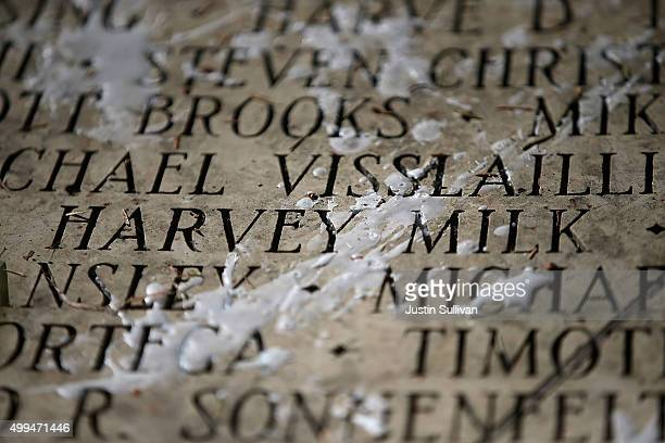 Harvey Milk's name is seen among the engraved names of AIDS victims during a World AIDS Day commemoration event at the National AIDS Memorial Grove...