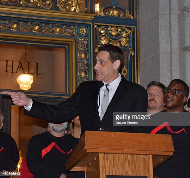 CONTENT] Harvey Milk's nephew Stuart Milk speaks at the 35th annual memorial for Milk and Mayor George Moscone at San Francisco City Hall Behind him...