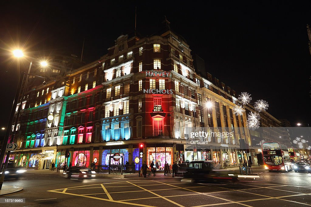 Harvey Nichols department store in Knightsbridge on November 29, 2012 in London, England. Many prominent retailers in the capital have produced elaborate festive window displays to entice Christmas shoppers with less than one calendar month remaining before Christmas Day.