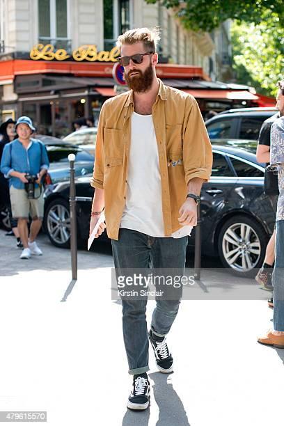Harvey Nichols mens fashion buyer Reece Crisp on day 4 of Paris Fashion Week Menswear Spring/Summer 2016 on June 25 2015 in Paris France
