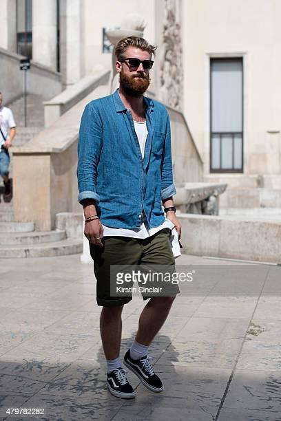 Harvey Nichols mens fashion buyer wears Reece Crisp on day 5 of Paris Fashion Week Menswear Spring/Summer 2016 on June 28 2015 in Paris France