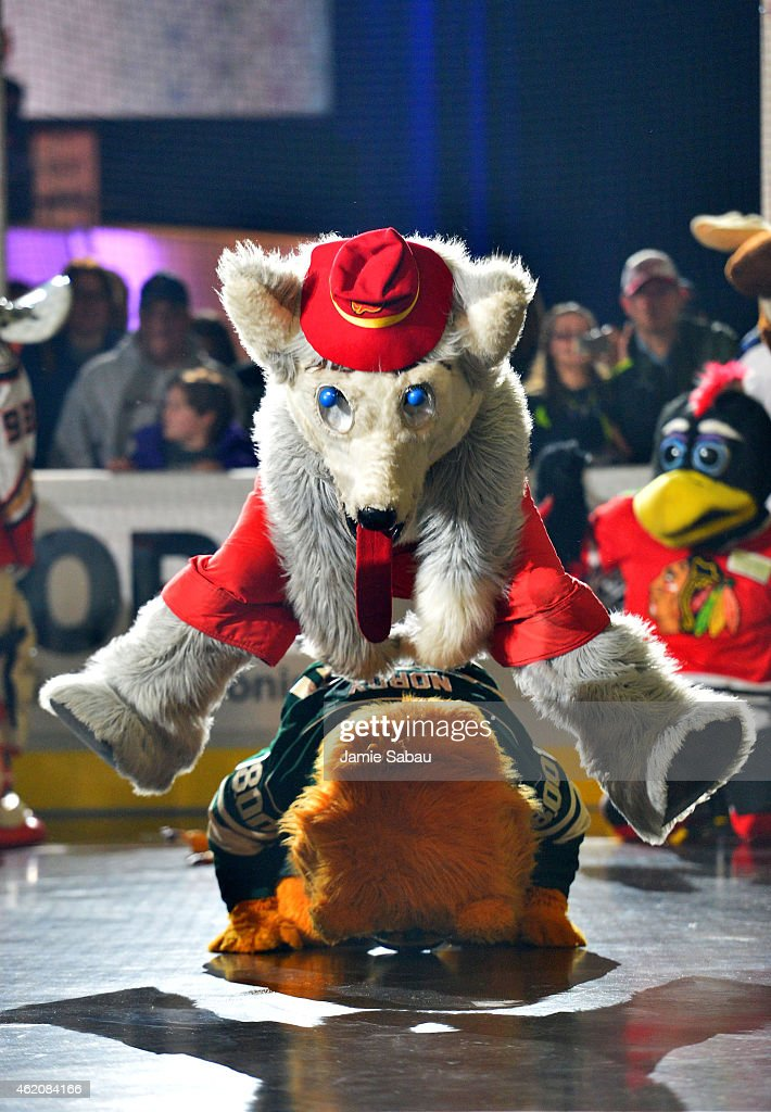 Harvey the Hound of the Calgary Flames leapfrogs over Nordy of the Minnesota Wild during the mascot showdown as part of the 2015 NHL AllStar Weekend...