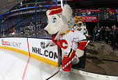 Harvey the Hound of the Calgary Flames steps onto the ice surface during the mascot showdown as part of the 2015 NHL AllStar Weekend at Nationwide...