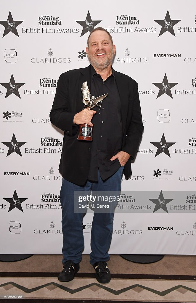 Harvey Weinstein, accepting the Best International Film of the Year award for 'Lion', poses at The London Evening Standard British Film Awards at Claridge's Hotel on December 8, 2016 in London, England.