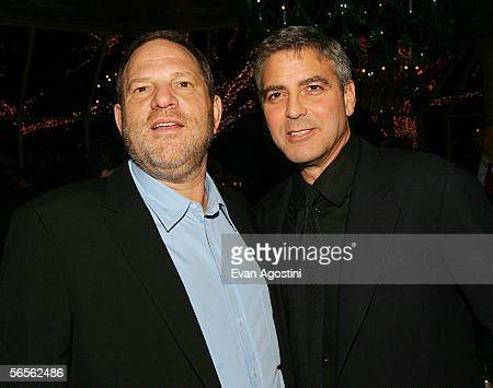 Harvey Weinstein and actor George Clooney attend the 2005 National Board of Review of Motion Pictures Awards reception at Tavern on the Green January...