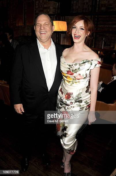 Harvey Weinstein and actress Christina Hendricks attend a preBAFTA dinner celebrating best film nominee The King's Speech hosted by The Weinstein...
