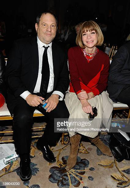 Harvey Weinstein and Anna Wintour attend the Marchesa Fall 2012 fashion show during MercedesBenz Fashion Week at The Plaza Hotel on February 15 2012...