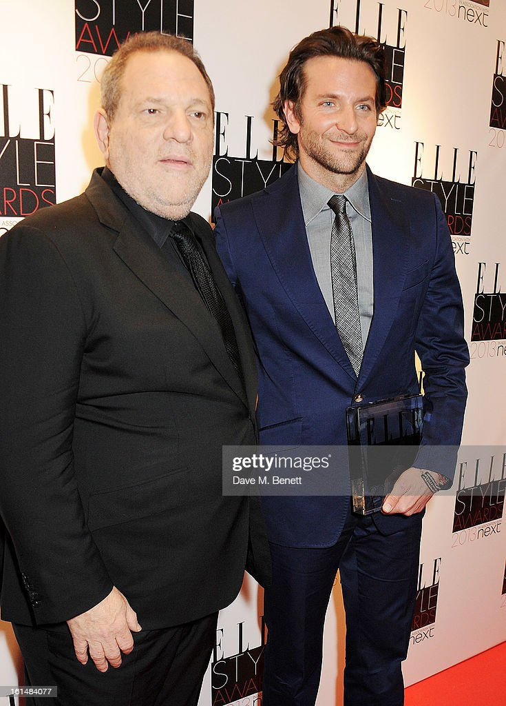 <a gi-track='captionPersonalityLinkClicked' href=/galleries/search?phrase=Harvey+Weinstein&family=editorial&specificpeople=201749 ng-click='$event.stopPropagation()'>Harvey Weinstein</a> (L) and Best Actor winner <a gi-track='captionPersonalityLinkClicked' href=/galleries/search?phrase=Bradley+Cooper&family=editorial&specificpeople=680224 ng-click='$event.stopPropagation()'>Bradley Cooper</a> pose in the press room at the Elle Style Awards at The Savoy Hotel on February 11, 2013 in London, England.