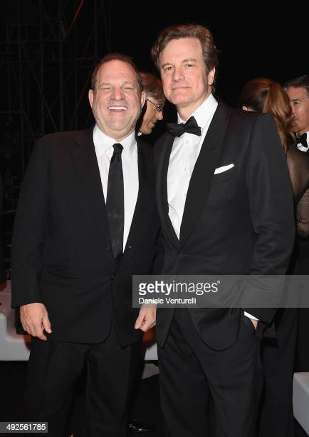 Harvey Weinstein and Colin Firth attend the Chopard Backstage Cocktail Afterparty at the CannesMandelieu Aerodrome during the 67th Annual Cannes Film...