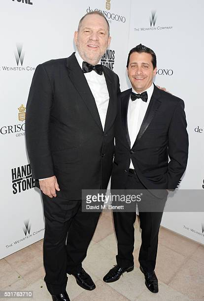 Harvey Weinstein and David Glasser attend The Weinstein Company's HANDS OF STONE Cocktail Party presented by de Grisogono at Terrasse by Albane in...