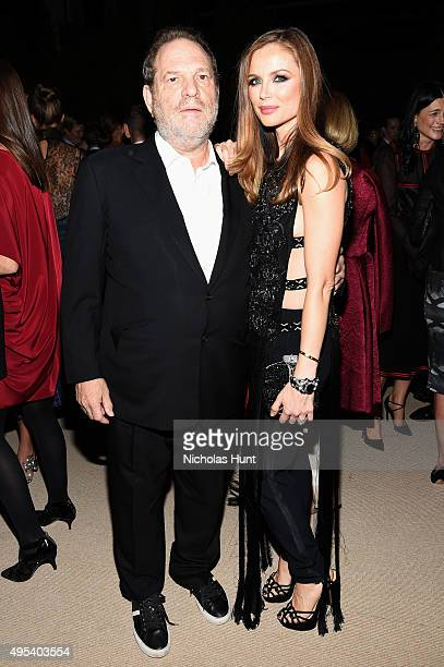 Harvey Weinstein and designer Georgina Chapman of Marchesa attend the 12th annual CFDA/Vogue Fashion Fund Awards at Spring Studios on November 2 2015...