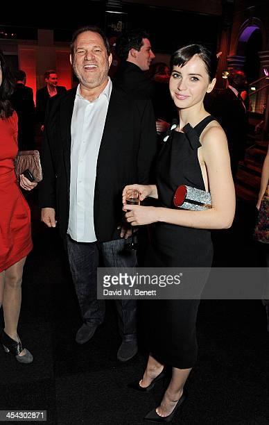 Harvey Weinstein and Felicity Jones attend the Moet Reception at the Moet British Independent Film Awards 2013 at Old Billingsgate Market on December...