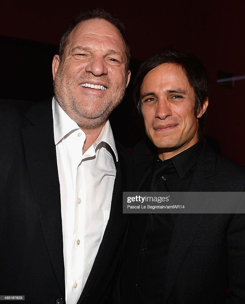 Harvey Weinstein and Gael García Bernal attend amfAR's 21st Cinema Against AIDS Gala Presented By WORLDVIEW BOLD FILMS And BVLGARI at Hotel du...