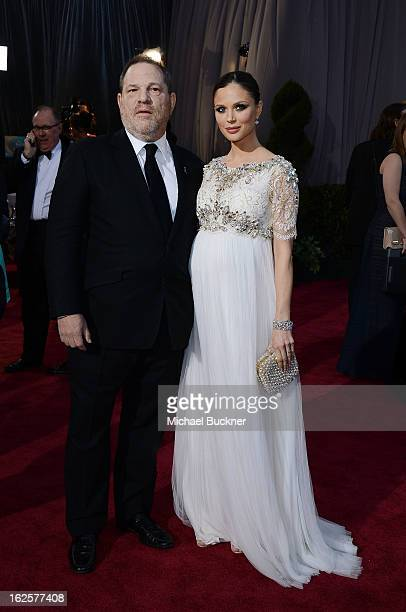 Harvey Weinstein and Georgina Chapman arrive at the Oscars at Hollywood Highland Center on February 24 2013 in Hollywood California