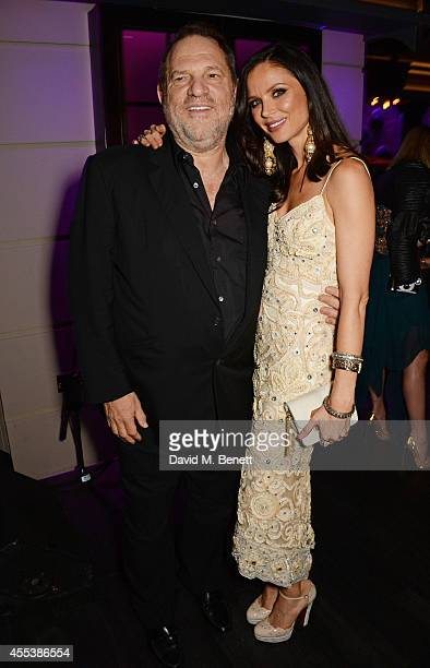 Harvey Weinstein and Georgina Chapman attend the Marchesa S/S 2015 after party sponsored by Revlon at Le Peep Boutique on September 13 2014 in London...