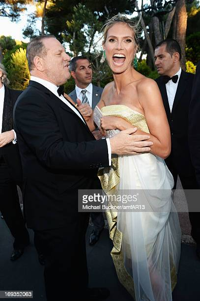 Harvey Weinstein and Heidi Klum attend amfAR's 20th Annual Cinema Against AIDS during The 66th Annual Cannes Film Festival at Hotel du CapEdenRoc on...