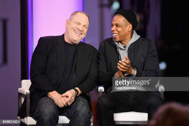 Harvey Weinstein and Jay Z speak onstage during TIME AND PUNISHMENT A Town Hall Discussion with JAY Z and Harvey Weinstein on Spike TV at MTV Studios...