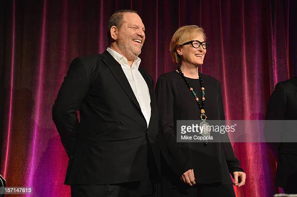 Harvey Weinstein and Meryl Streep on stage at the Christopher Dana Reeve Foundation's A Magical Evening Gala at Cipriani Wall Street on November 28...