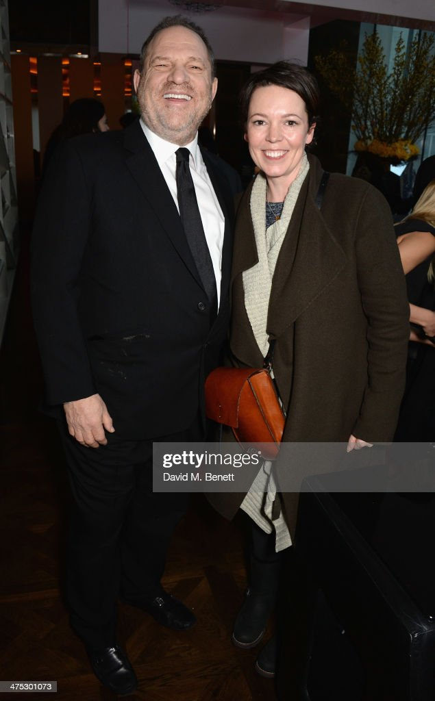 Harvey Weinstein and Olivia Coleman attend a VIP screening of Harvey Weinstein's 'Escape From Planet Earth' at The W Hotel on February 27, 2014 in London, England.