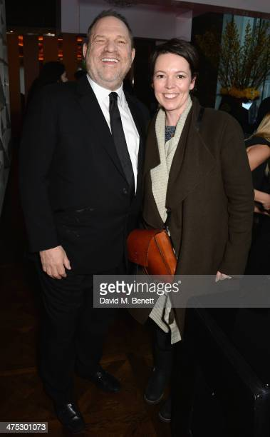 Harvey Weinstein and Olivia Coleman attend a VIP screening of Harvey Weinstein's 'Escape From Planet Earth' at The W Hotel on February 27 2014 in...