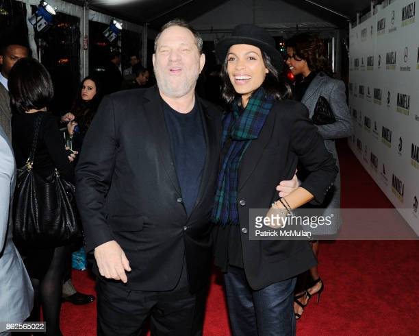 Harvey Weinstein and Rosario Dawson attend New York premiere of 'Mandela Long Walk to Freedom' hosted by The Weinstein Company at Alice Tully Hall on...