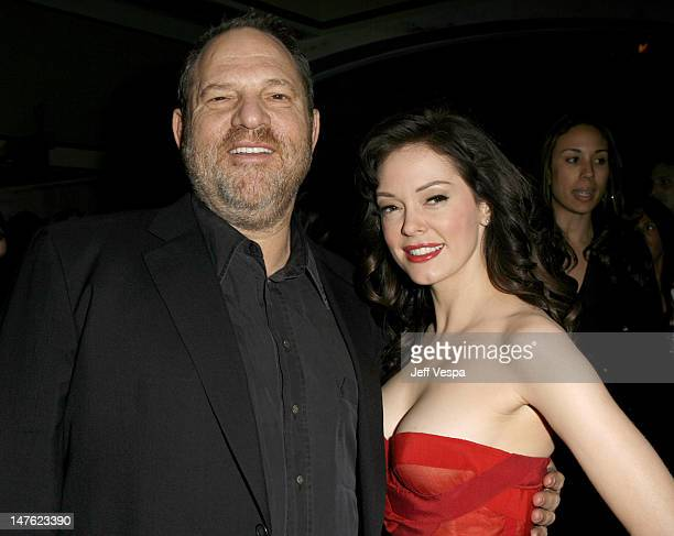 Harvey Weinstein and Rose McGowan during 'Grindhouse' Los Angeles Premiere Inside and After Party in Los Angeles California United States