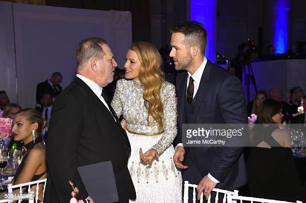 Harvey Weinstein Blake Lively and Ryan Reynolds attend the 2016 amfAR New York Gala at Cipriani Wall Street on February 10 2016 in New York City