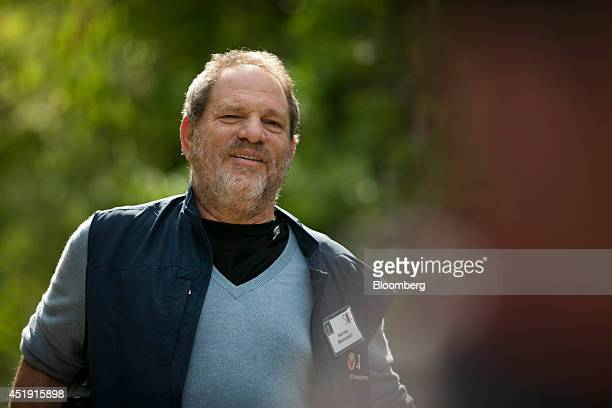 Harvey Weinstein cochairman and founder of Weinstein Co leaves a morning session during the Allen Co Media and Technology Conference in Sun Valley...