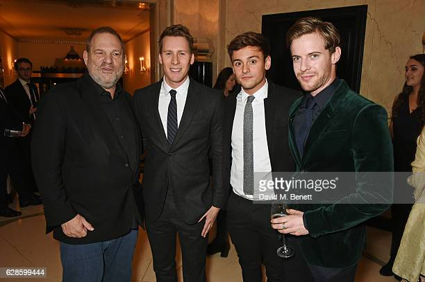 Harvey Weinstein Dustin Lance Black Tom Daley and Luke Treadaway attend The London Evening Standard British Film Awards at Claridge's Hotel on...