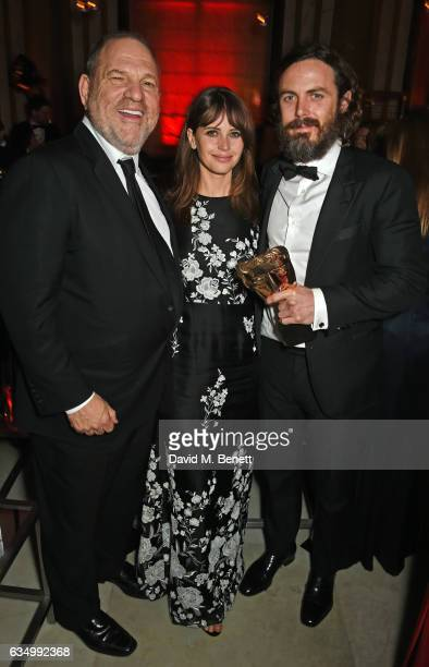 Harvey Weinstein Felicity Jones and Casey Affleck attend The Weinstein Company Entertainment Film Distributors Studiocanal 2017 BAFTA After Party in...