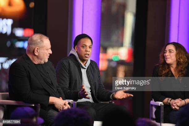 Harvey Weinstein Jay Z and Kristi Jacobson speak onstage during TIME AND PUNISHMENT A Town Hall Discussion with JAY Z and Harvey Weinstein on Spike...