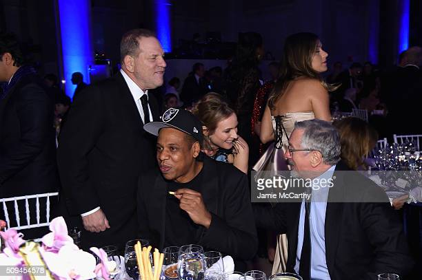 Harvey Weinstein Jay Z Diane Kruger and Robert De Niro attends the 2016 amfAR New York Gala at Cipriani Wall Street on February 10 2016 in New York...