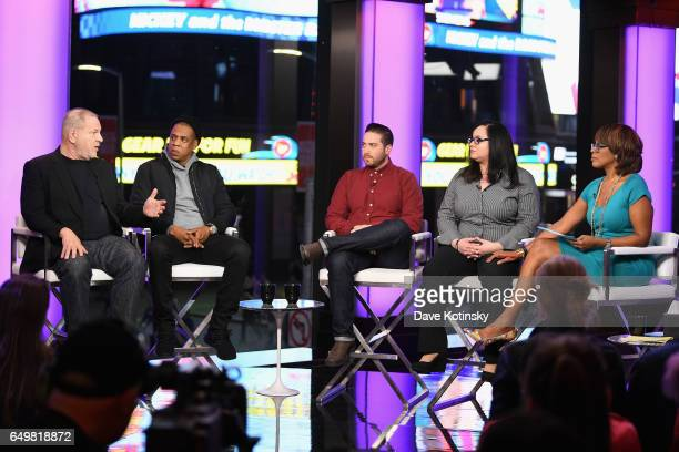 Harvey Weinstein Jay Z Jenner Furst Nicole Browder and Gayle King speak onstage during TIME AND PUNISHMENT A Town Hall Discussion with JAY Z and...