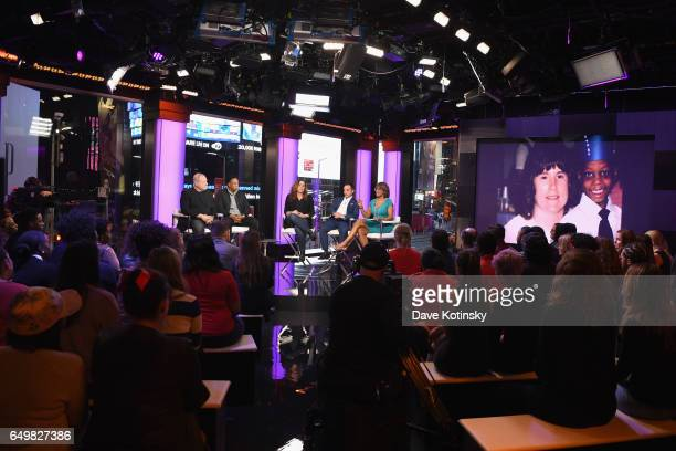 Harvey Weinstein Jay Z Kristi Jacobson lawyer Paul Prestia and Gayle King speak onstage during TIME AND PUNISHMENT A Town Hall Discussion with JAY Z...